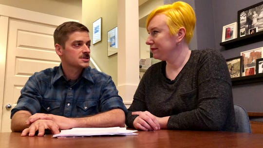 Husband and wife Andy Kraft and Amy Elias, of Portland, talk during an interview about their 2018 tax paperwork.
