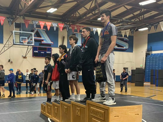 Palma's Saul Gonzalez (far right) finished second in the CCS wrestling championships and earned enough votes for the Californian's Boys' Athlete of the Week.