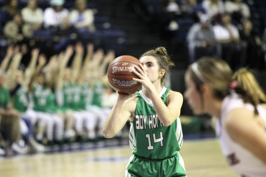 Blackwell's Kiley Cummings (14) eyes a free throw during a Region II-1A quarterfinal game Monday, Feb. 18, 2019, against Veribest at the Junell Center.