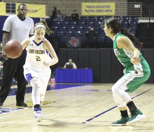 Veribest High School's Zoe Bratcher (2) dribbles the ball against Blackwell during a Class 1A girls basketball regional quarterfinal game Monday, Feb. 18, 2019, at the Junell Center.