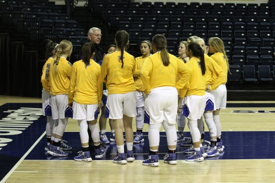 Veribest head coach Jim Eubank talks over game plans with his team before the Lady Falcons played against Blackwell in a Class 1A girls basketball regional quarterfinal game Monday, Feb. 18, 2019, at the Junell Center.