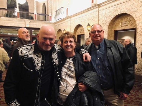 Jon Weiswasser, Carl Roethel and Lind Roethel at the Eaglemania concert at the Weill Center on Friday, Feb. 15. Carl owns Carlton Automotive, which towed the band to the venue when their car died less than 20 minutes from the venue.