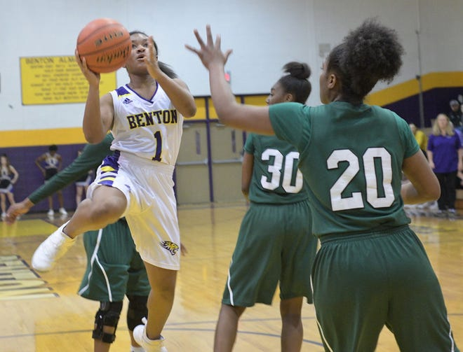 Benton's Jada Anderson scores against Plaquemine Monday in the Lady Tiger's LHSAA Class 4A state playoff game in Benton.