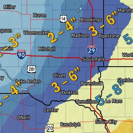 NWS: Snow to arrive in Sioux Falls area by Tuesday night