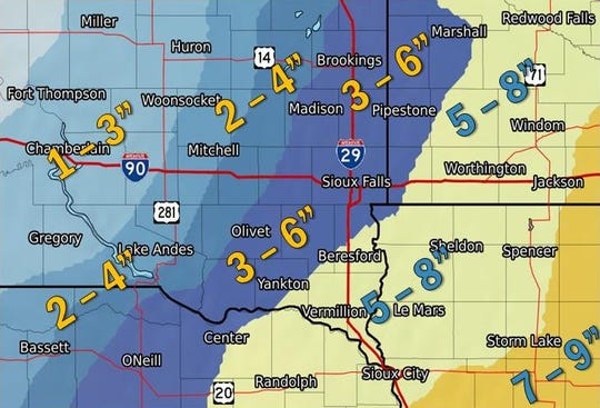 The amounts of snow expected in southeastern South Dakota by Wednesday, Feb. 20, 2019.