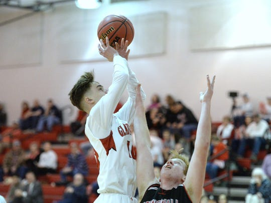 Riverheads' Adam Painter puts up a shot in the Region 1B quarterfinals against Stonewall Jackson.