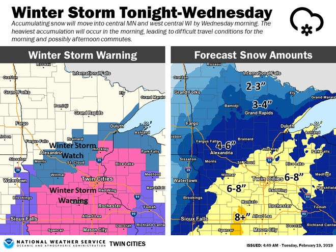 Accumulating snow will move into Central Minnesota by Wednesday morning, according to the National Weather Service.