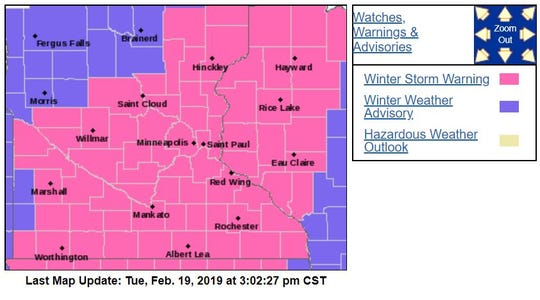 On Tuesday afternoon, Stearns County was upgraded from a winter storm watch to a winter storm warning for Tuesday night and Wednesday morning.