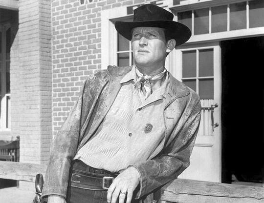 "Don Collier as Marshal Will Foreman in a scene from the 1960s television show ""Outlaws."""