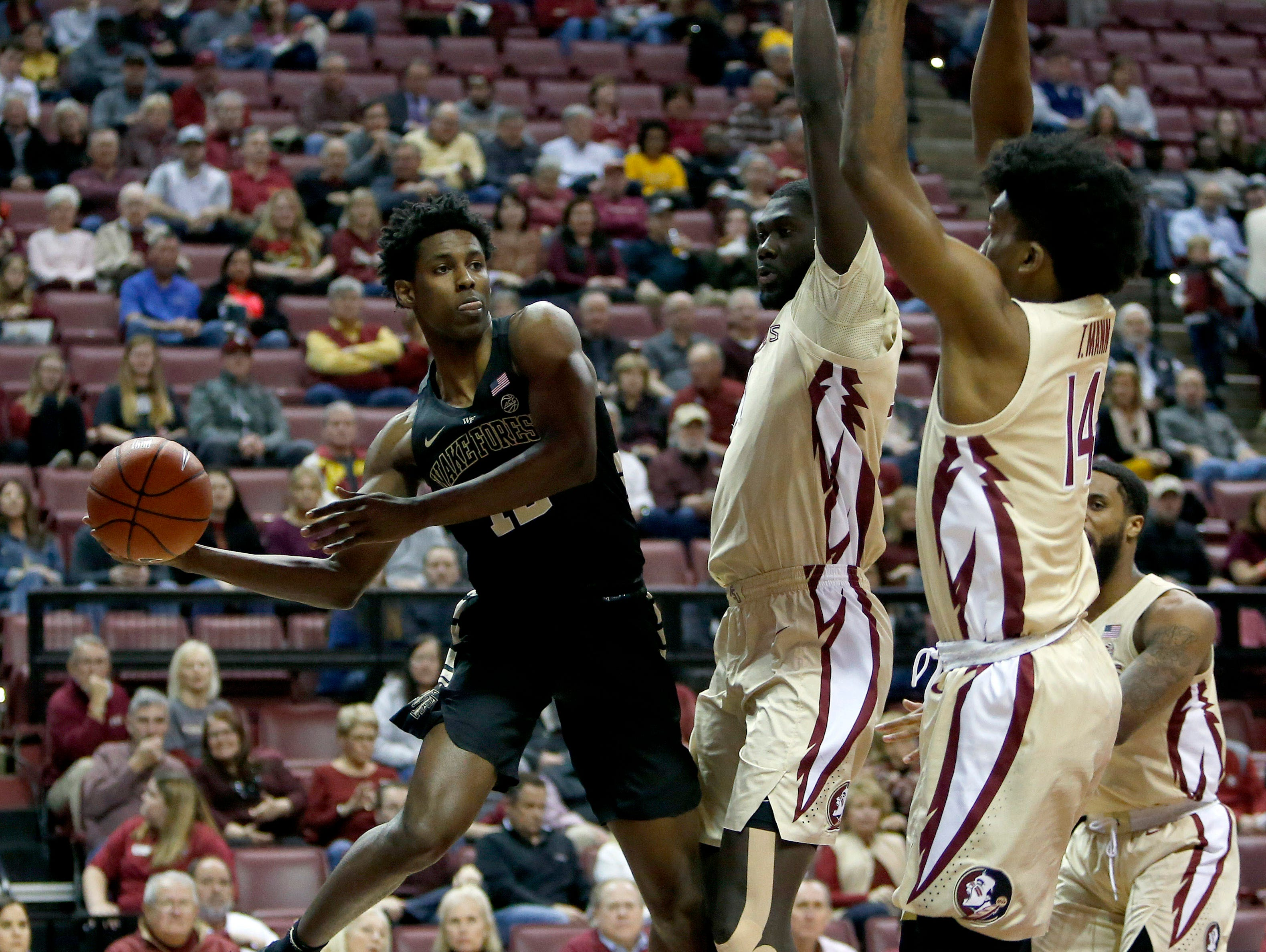 Feb 13, 2019; Tallahassee, FL, USA; Wake Forest Demon Deacons forward Jaylen Hoard (10) attempts to save the ball against the Florida State Seminoles during the first half of action at Donald L. Tucker Center. Mandatory Credit: Glenn Beil-USA TODAY Sports