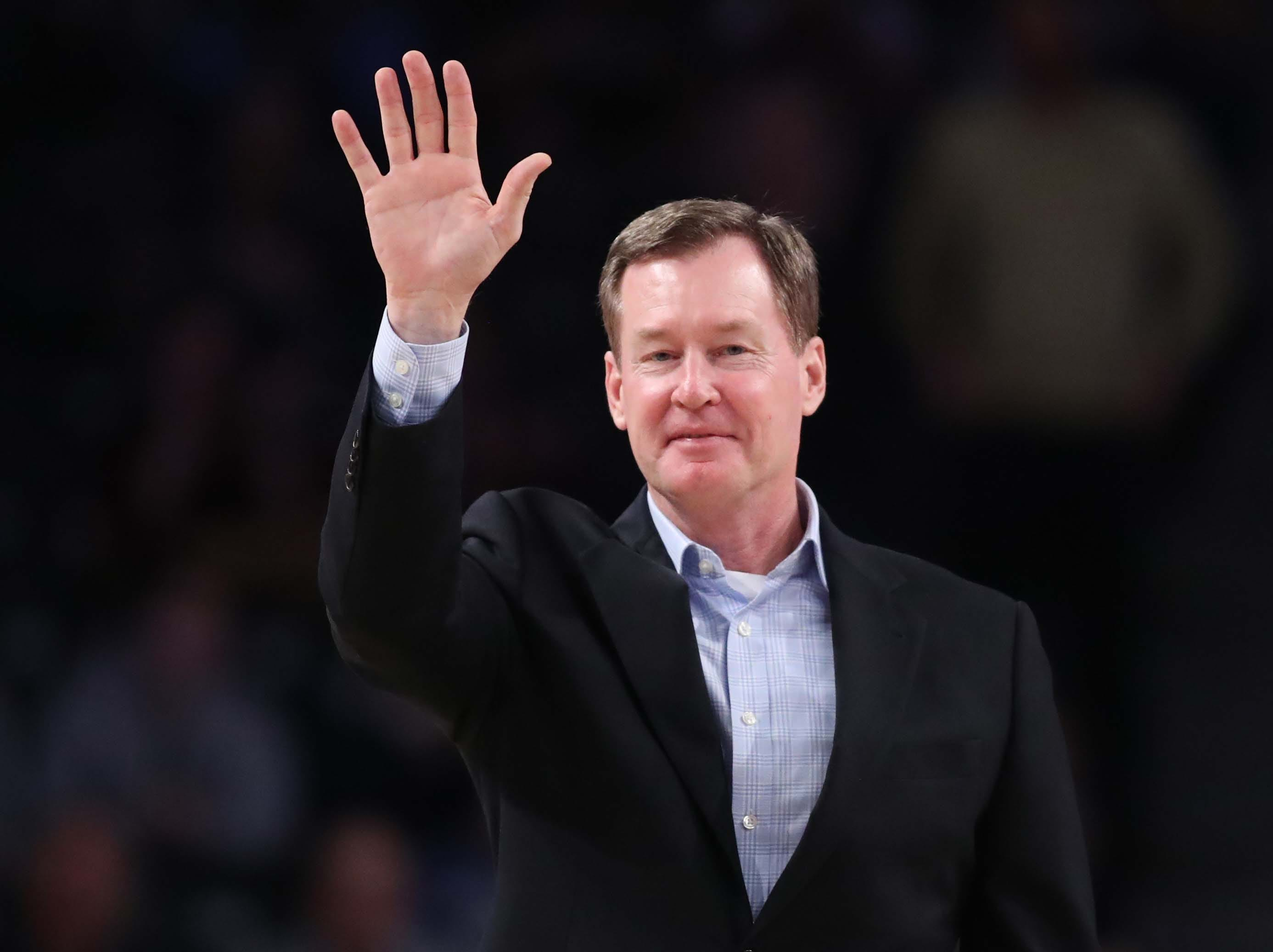 Feb 16, 2019; Atlanta, GA, USA; Former Georgia Tech Yellow Jackets basketball player Mark Price waves to the crowd during the Georgia Tech's game against the Florida State Seminoles at McCamish Pavilion. Mandatory Credit: Jason Getz-USA TODAY Sports