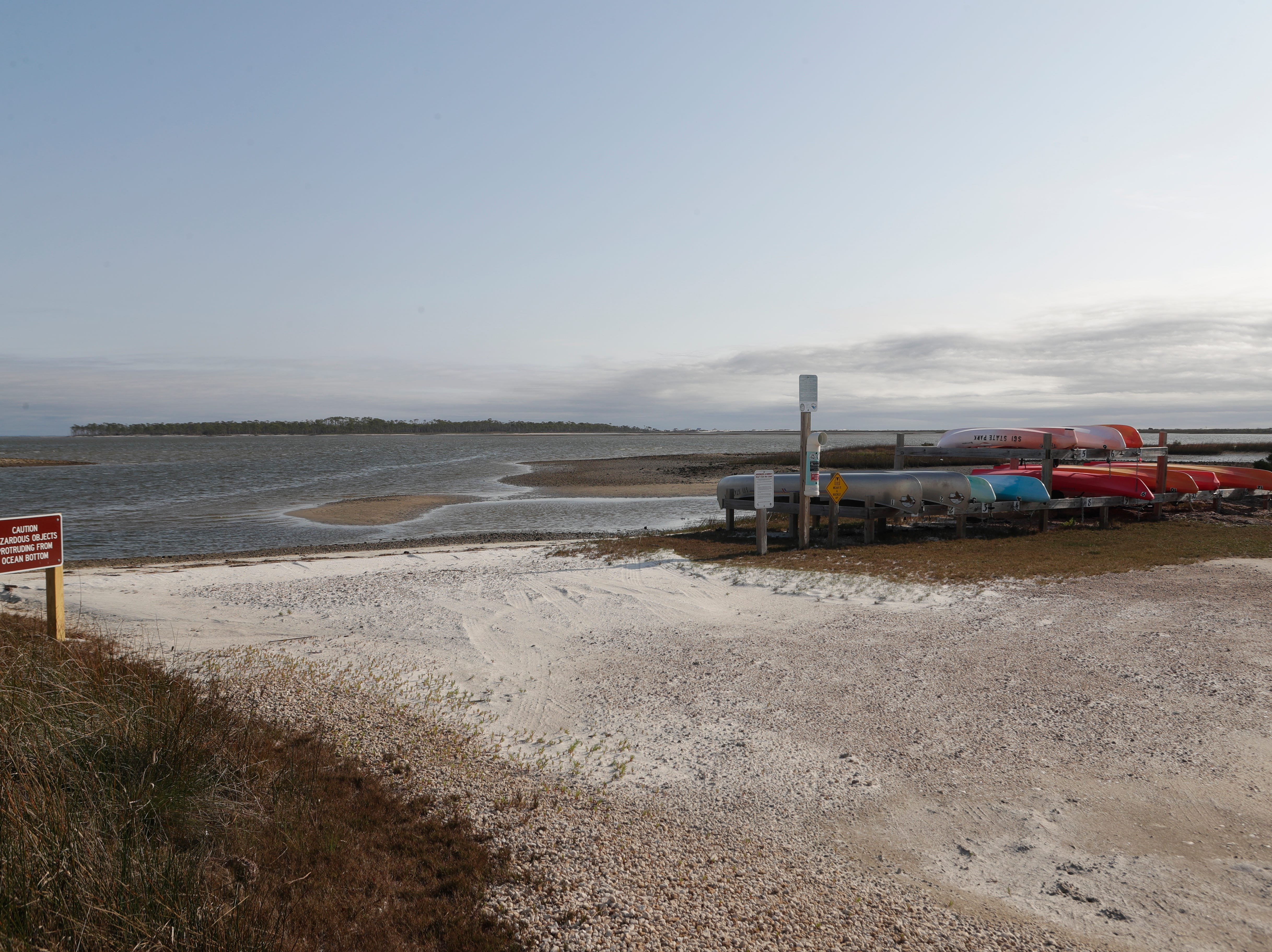 A boat ramp at St. George Island State Park, Tuesday Feb. 19, 2019. The park reopens on March 1, 2019.