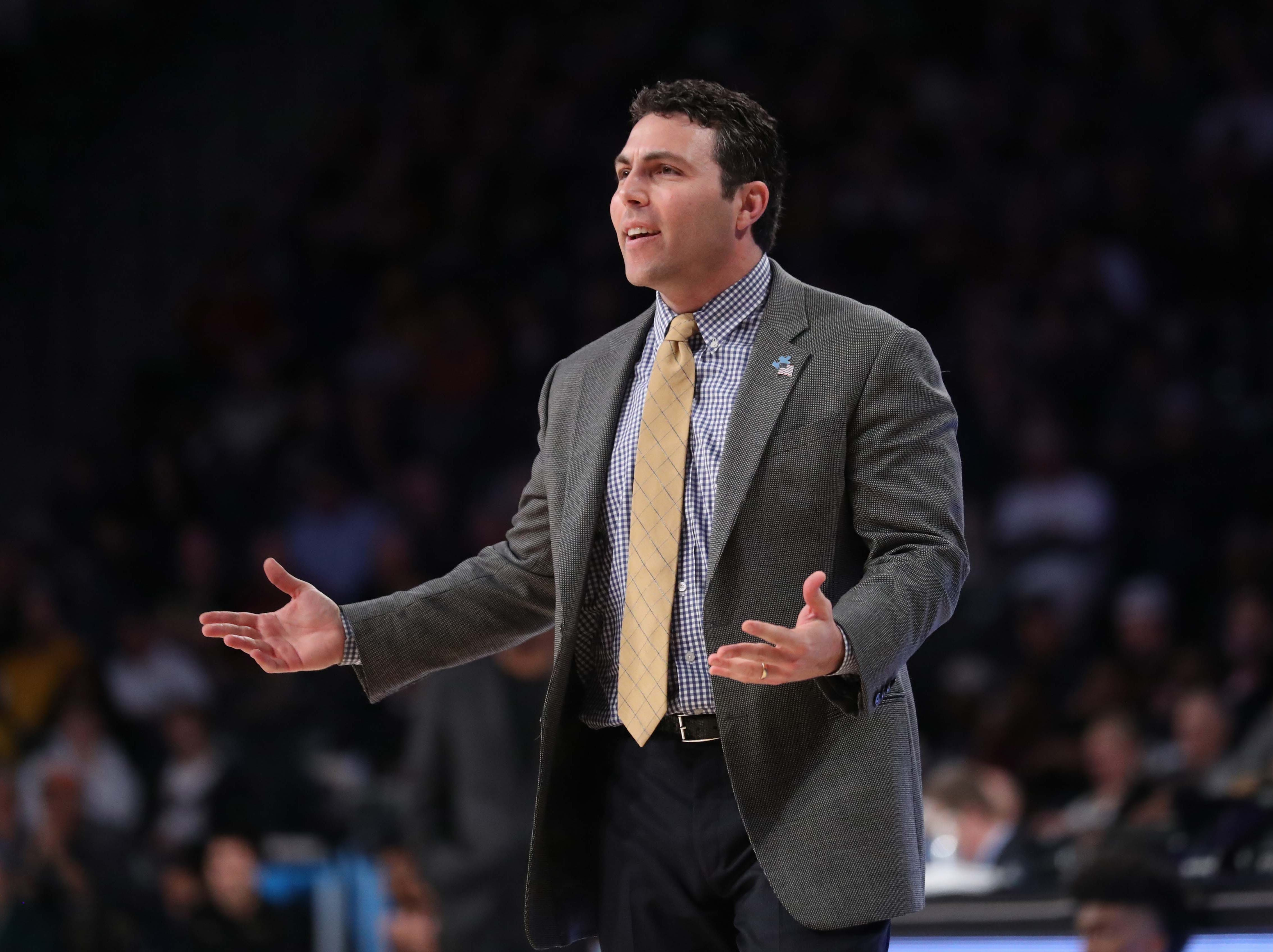 Feb 16, 2019; Atlanta, GA, USA; Georgia Tech Yellow Jackets head coach Josh Pastner reacts to a play during the first half against the Florida State Seminoles at McCamish Pavilion. Mandatory Credit: Jason Getz-USA TODAY Sports
