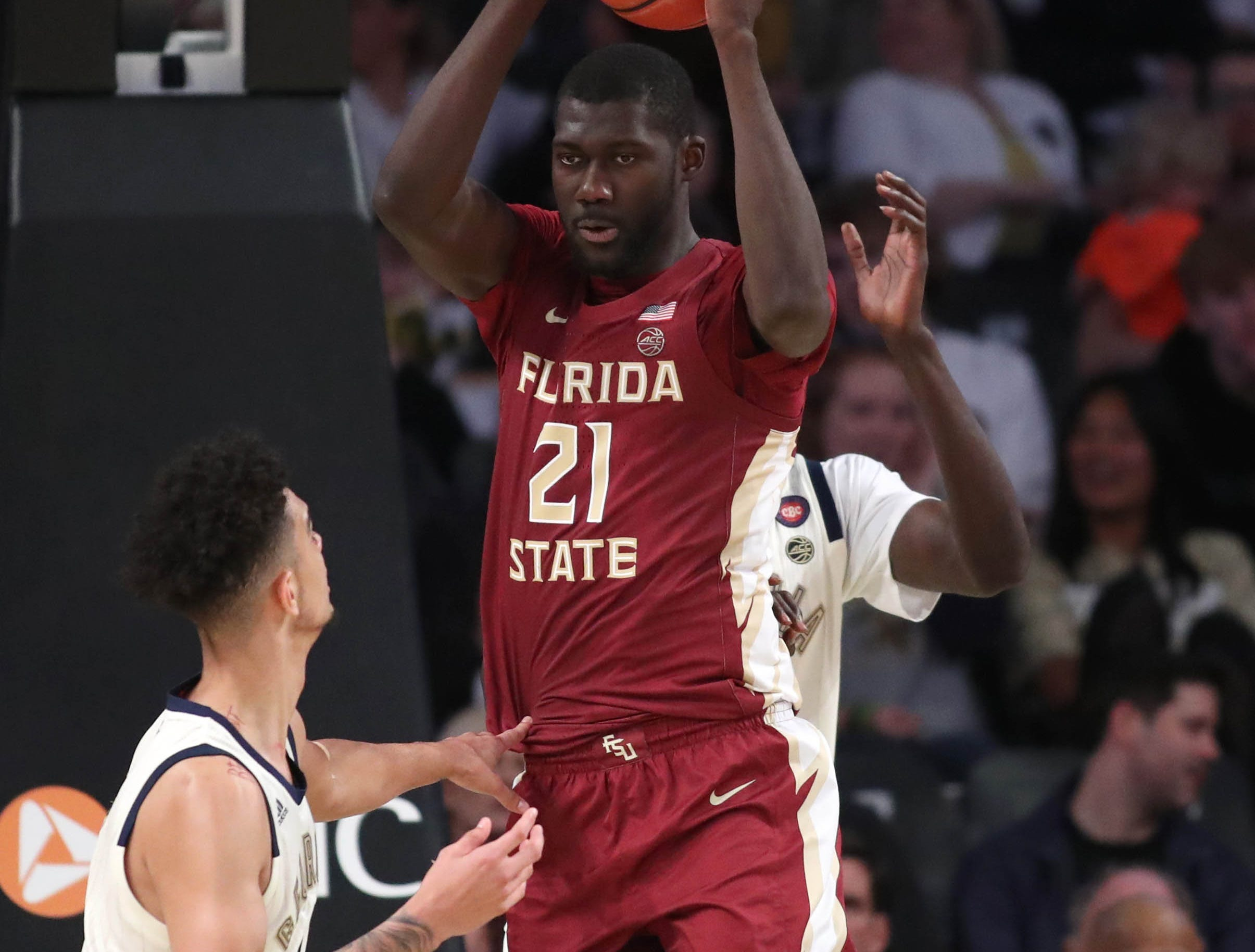 Feb 16, 2019; Atlanta, GA, USA; Florida State Seminoles center Christ Koumadje (21) grabs a rebound against Georgia Tech Yellow Jackets guard Michael Devoe (0) in the second half at McCamish Pavilion. Mandatory Credit: Jason Getz-USA TODAY Sports