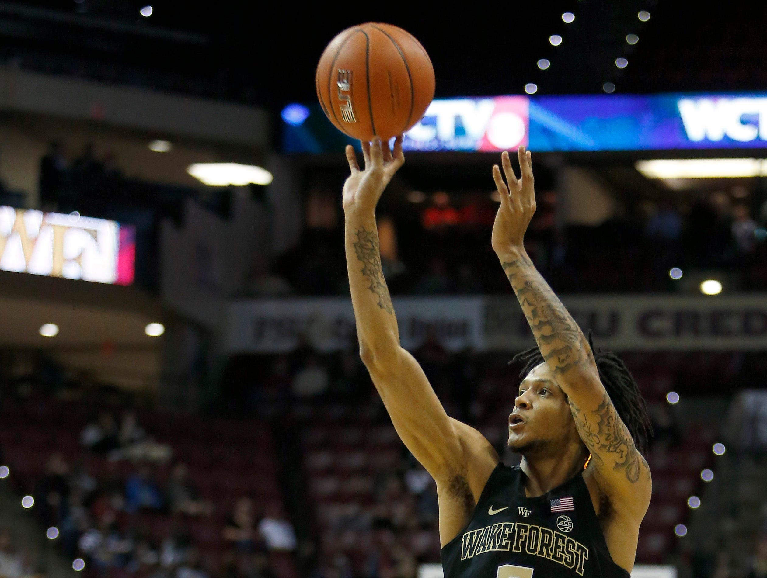 Feb 13, 2019; Tallahassee, FL, USA; Wake Forest Demon Deacons shoots the ball during the first half against the Florida State Seminoles at Donald L. Tucker Center. Mandatory Credit: Glenn Beil-USA TODAY Sports