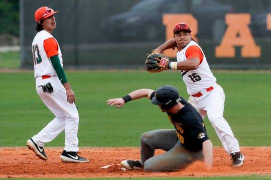 Florida A&M's Octavien Moyer (15) looks to turn a double play. He leads the Rattlers in hitting with a .324 average.