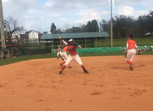 Preseason First-Team All-MEAC pitcher Kyaira Brown fields a bunt during practice. She takes the ball in the home opener versus Troy.