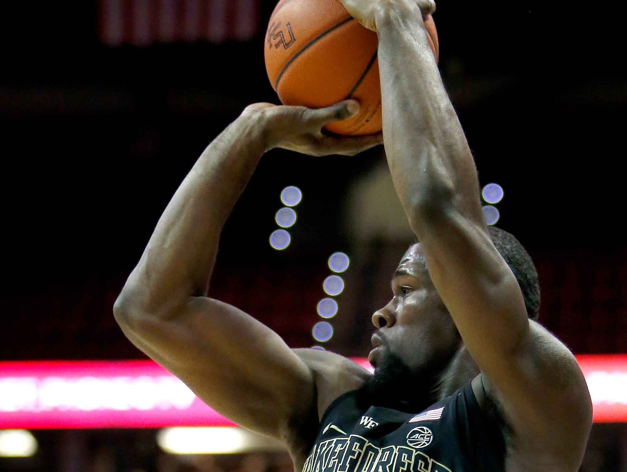 Feb 13, 2019; Tallahassee, FL, USA; Wake Forest Demon Deacons guard Chaundee Brown (23) shoots the ball against the Florida State Seminoles during the first half at Donald L. Tucker Center. Mandatory Credit: Glenn Beil-USA TODAY Sports