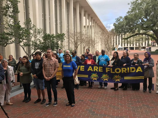 A coalition of immigrant groups traveled from Key West and Miami Dade to speak against Sen. Joe Gruters sanctuary city repeal