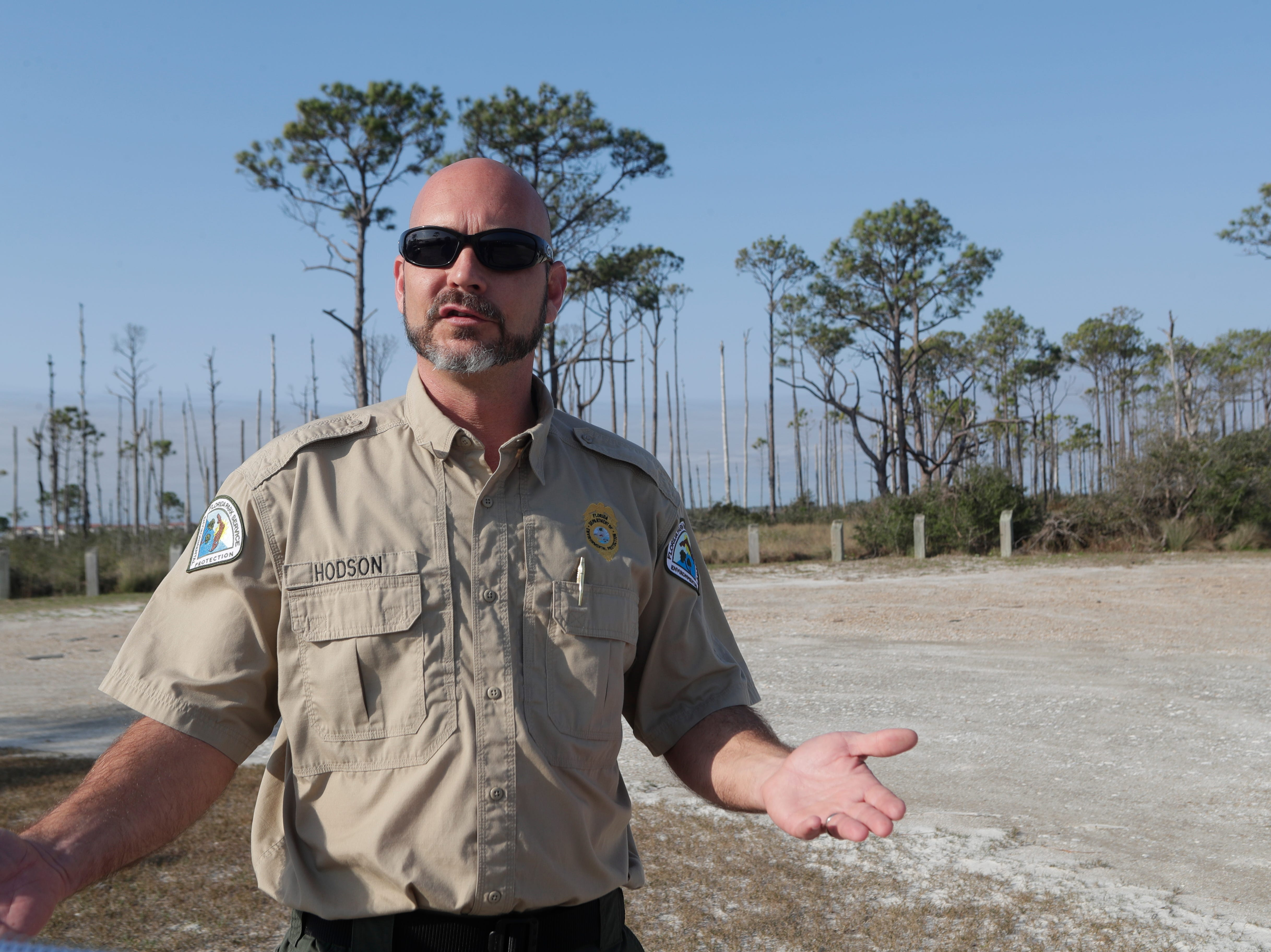 Josh Hodson, a park ranger at St. George Island State Park, talks about the progress that has been made to clean up the park since Hurricane Michael hit in Oct. 2018. The park reopens on March 1, 2019.
