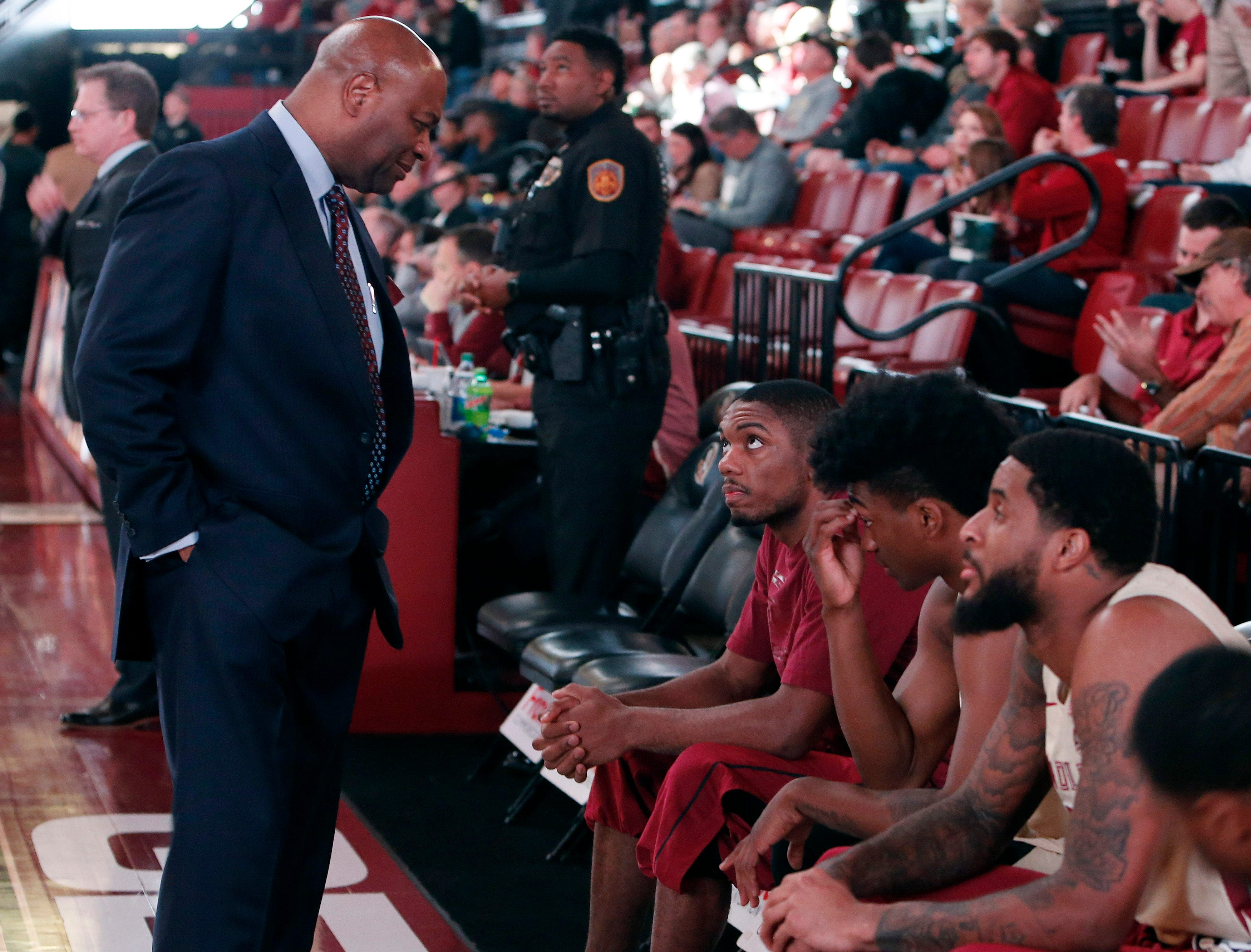 Feb 13, 2019; Tallahassee, FL, USA; Florida State Seminoles head coach Leonard Hamilton (left) talks to players on the bench prior to their game agianst the Wake Forest Demon Deacons at Donald L. Tucker Center. Mandatory Credit: Glenn Beil-USA TODAY Sports