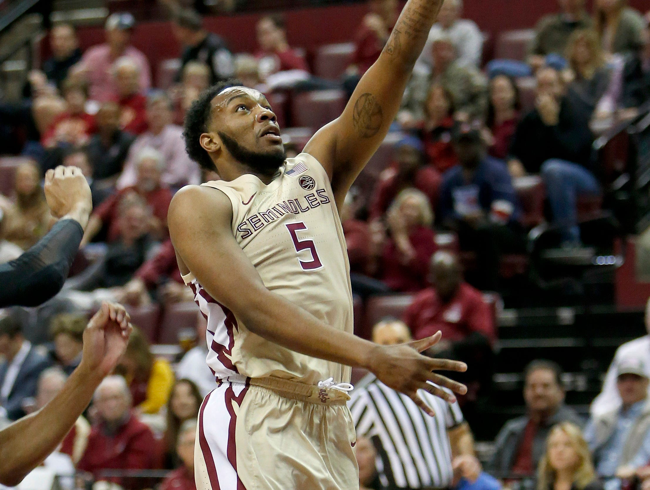 Feb 13, 2019; Tallahassee, FL, USA; Florida State Seminoles guard PJ Savoy (5) shoots the ball against the Wake Forest Demon Deacons during the first half at Donald L. Tucker Center. Mandatory Credit: Glenn Beil-USA TODAY Sports