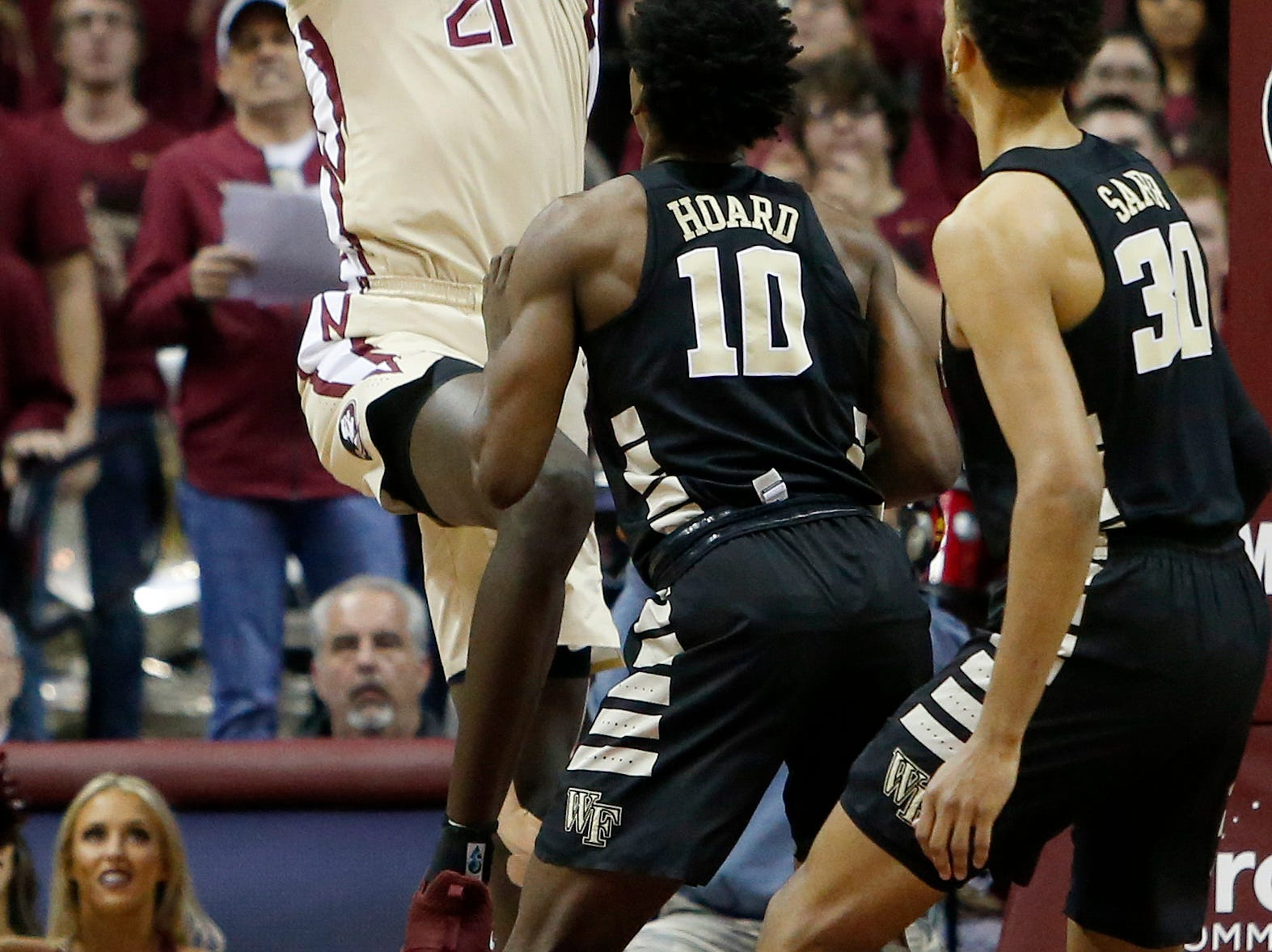 Feb 13, 2019; Tallahassee, FL, USA; Florida State Seminoles center Christ Koumadje (21) shoots the ball against the Wake Forest Demon Deacons during the first half at Donald L. Tucker Center. Mandatory Credit: Glenn Beil-USA TODAY Sports