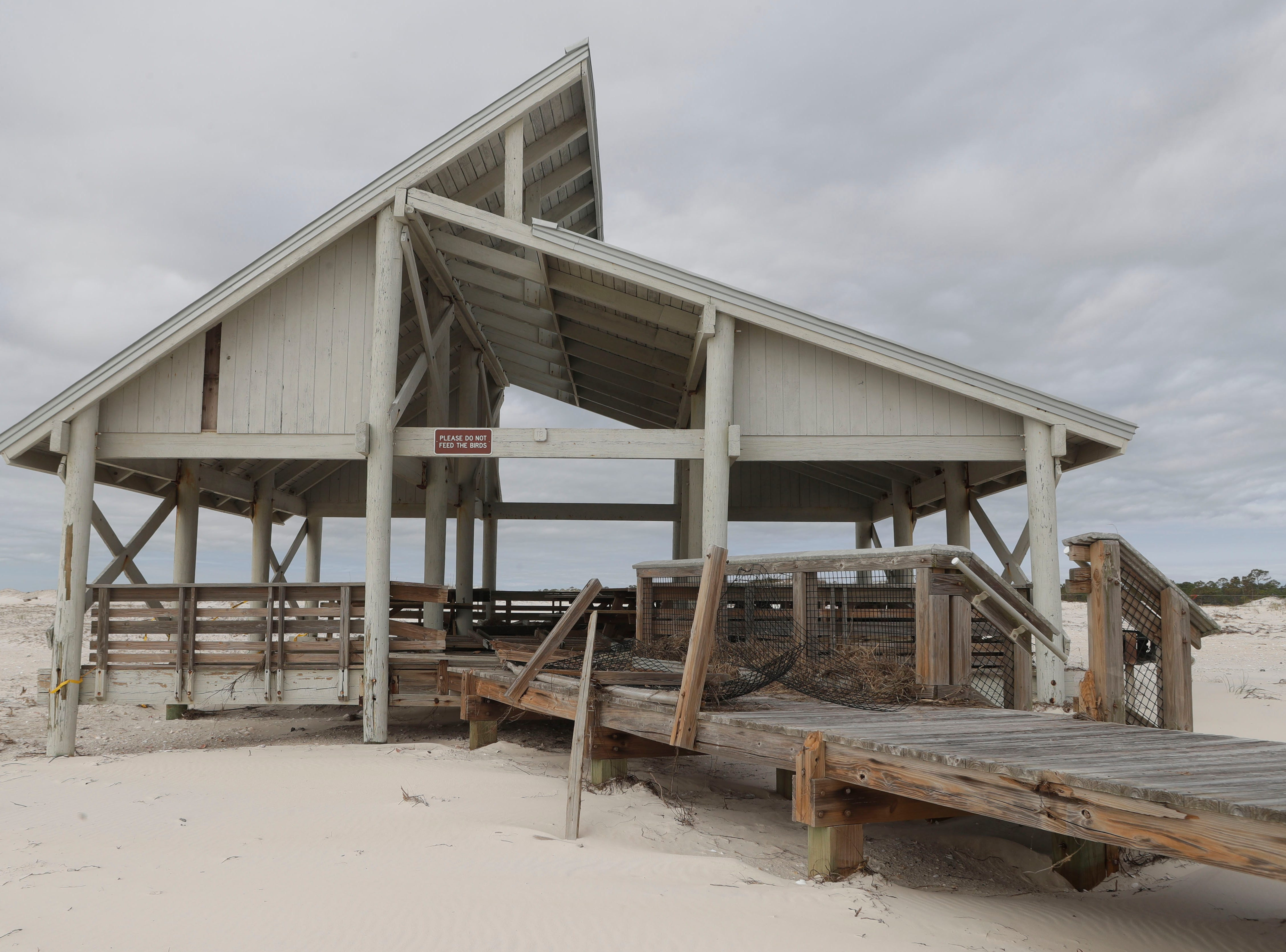 A pavilion on the beach in St. George Island State Park, Tuesday Feb. 19, 2019. The pavilion was torn apart during Hurricane Michael in Oct. 2018.