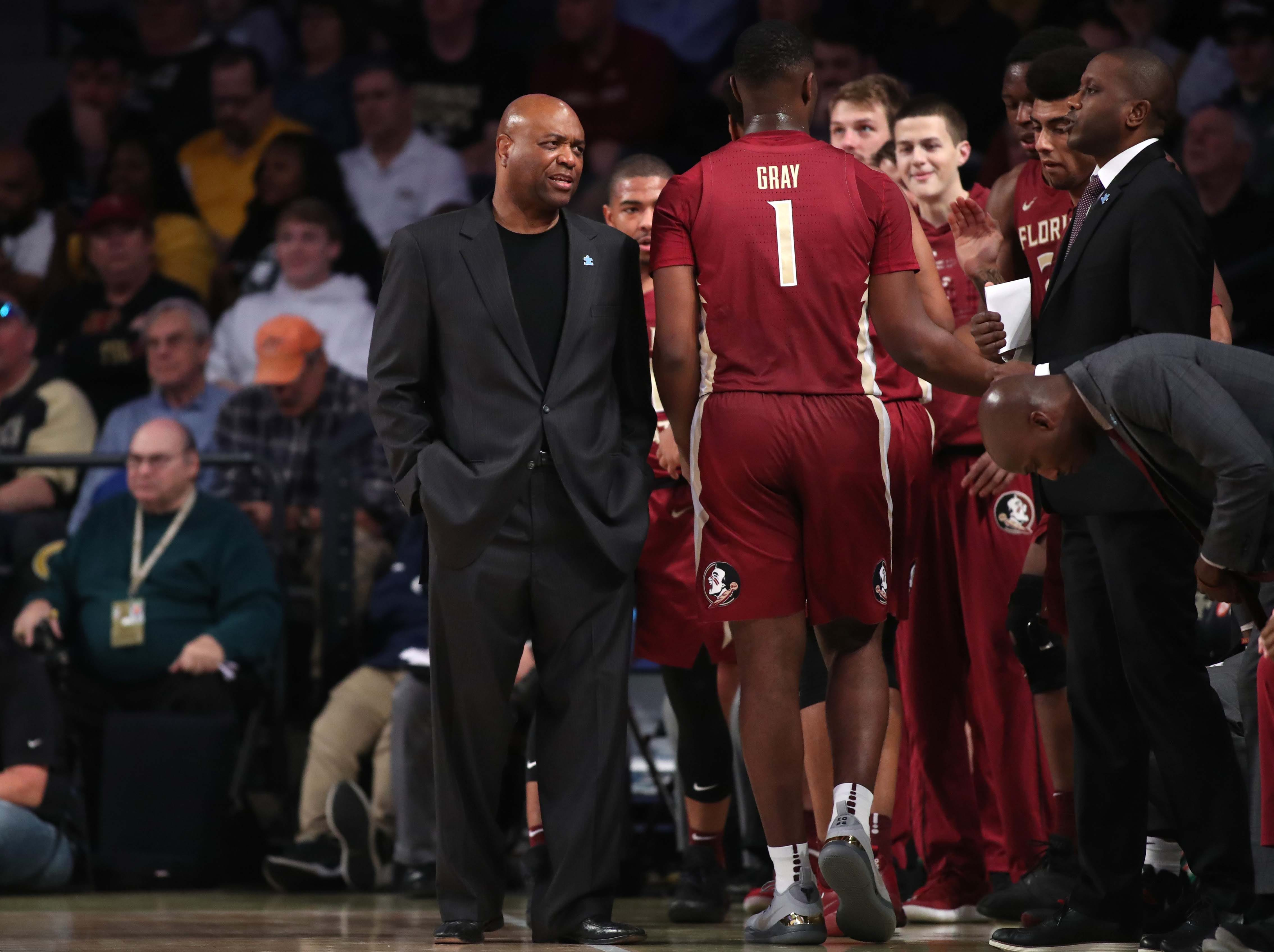 Feb 16, 2019; Atlanta, GA, USA; Florida State Seminoles head coach Leonard Hamilton on the bench during the first half against the Georgia Tech Yellow Jackets at McCamish Pavilion. Mandatory Credit: Jason Getz-USA TODAY Sports