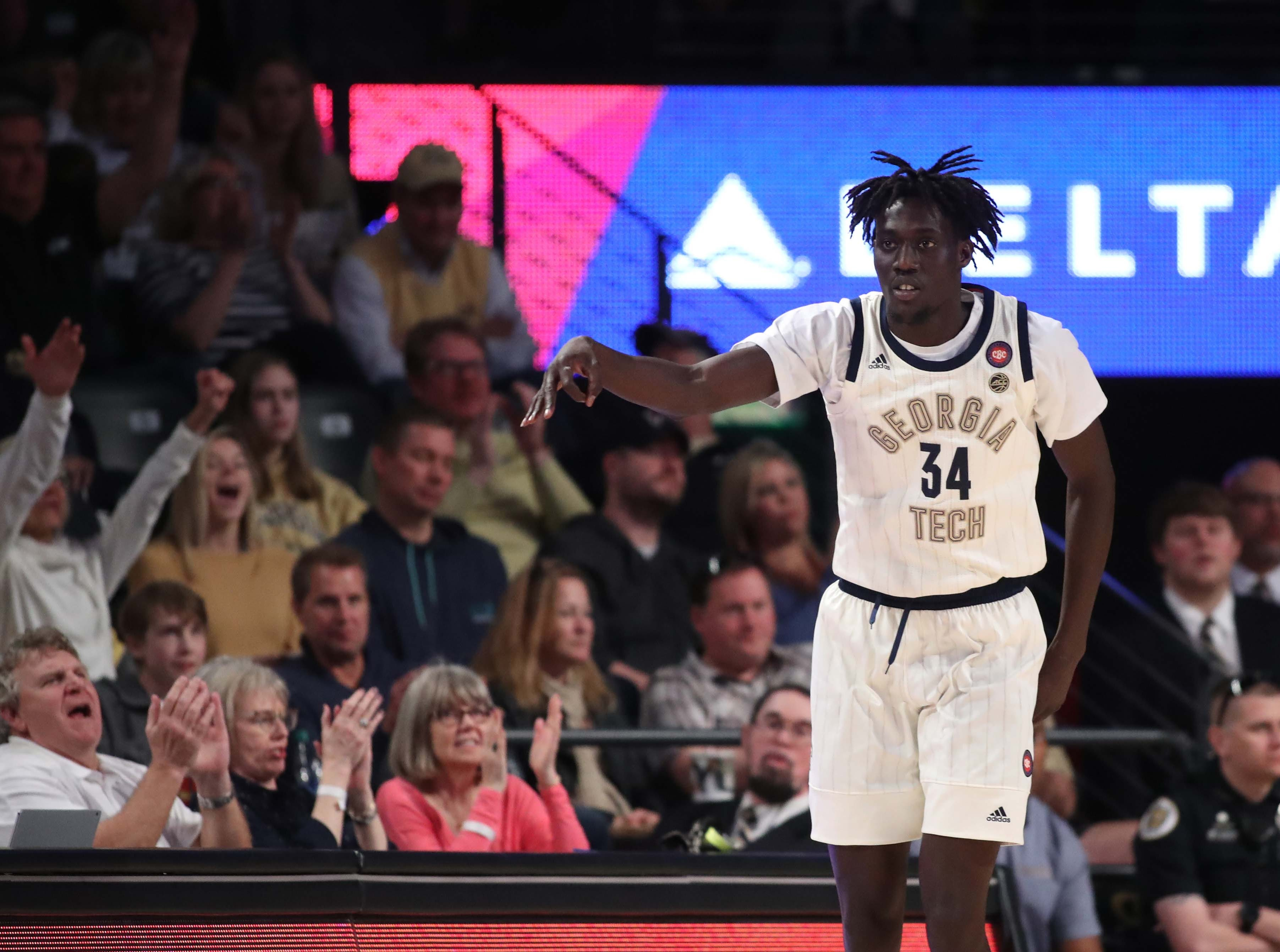 Feb 16, 2019; Atlanta, GA, USA; Georgia Tech Yellow Jackets forward Abdoulaye Gueye (34) celebrates a basket in the second half against the Florida State Seminoles at McCamish Pavilion. Mandatory Credit: Jason Getz-USA TODAY Sports
