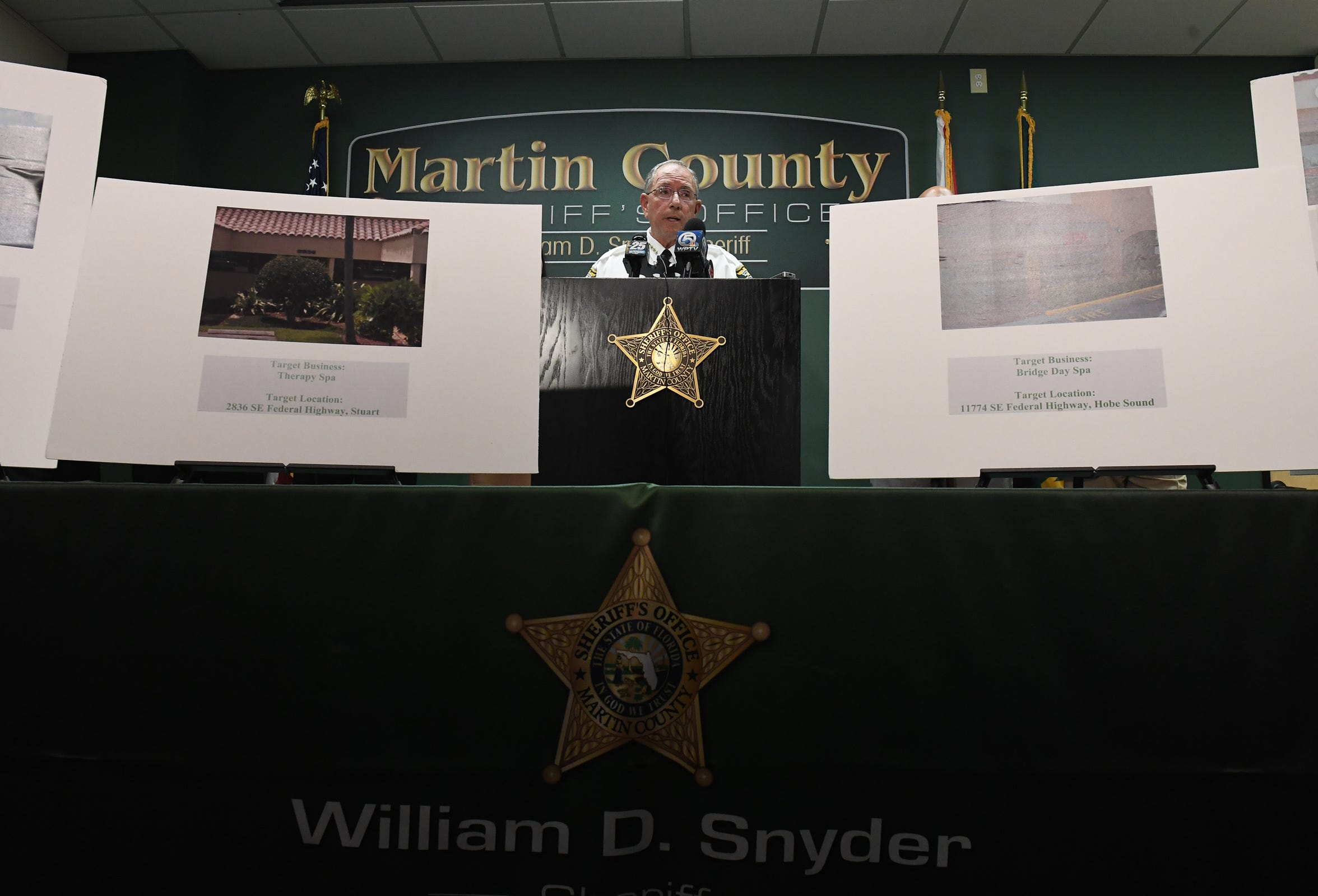 Martin County Sheriff William Snyder held a news conference Tuesday, Feb. 19, 2019, at the Martin County Sheriff's Office to discuss an eight-month multi-agency case investigation involving human trafficking and prostitution.
