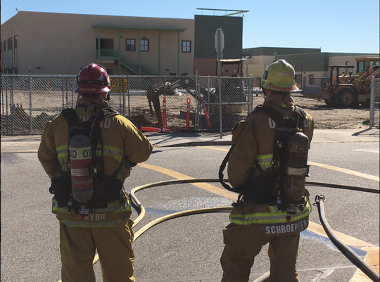 Fire crews were called to Lemonwood School in Oxnard Tuesday morning after construction crews working on campus hit a gas line.