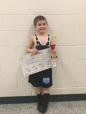 Jordan Szwak, 6, won his bracket at the Predator Tournament last weekend.
