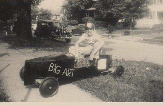Arthur Plotnik with his soap box derby racer on Grant Avenue in White Plains