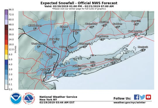 Snow is expected to hit the Lower Hudson Valley on Wednesday.