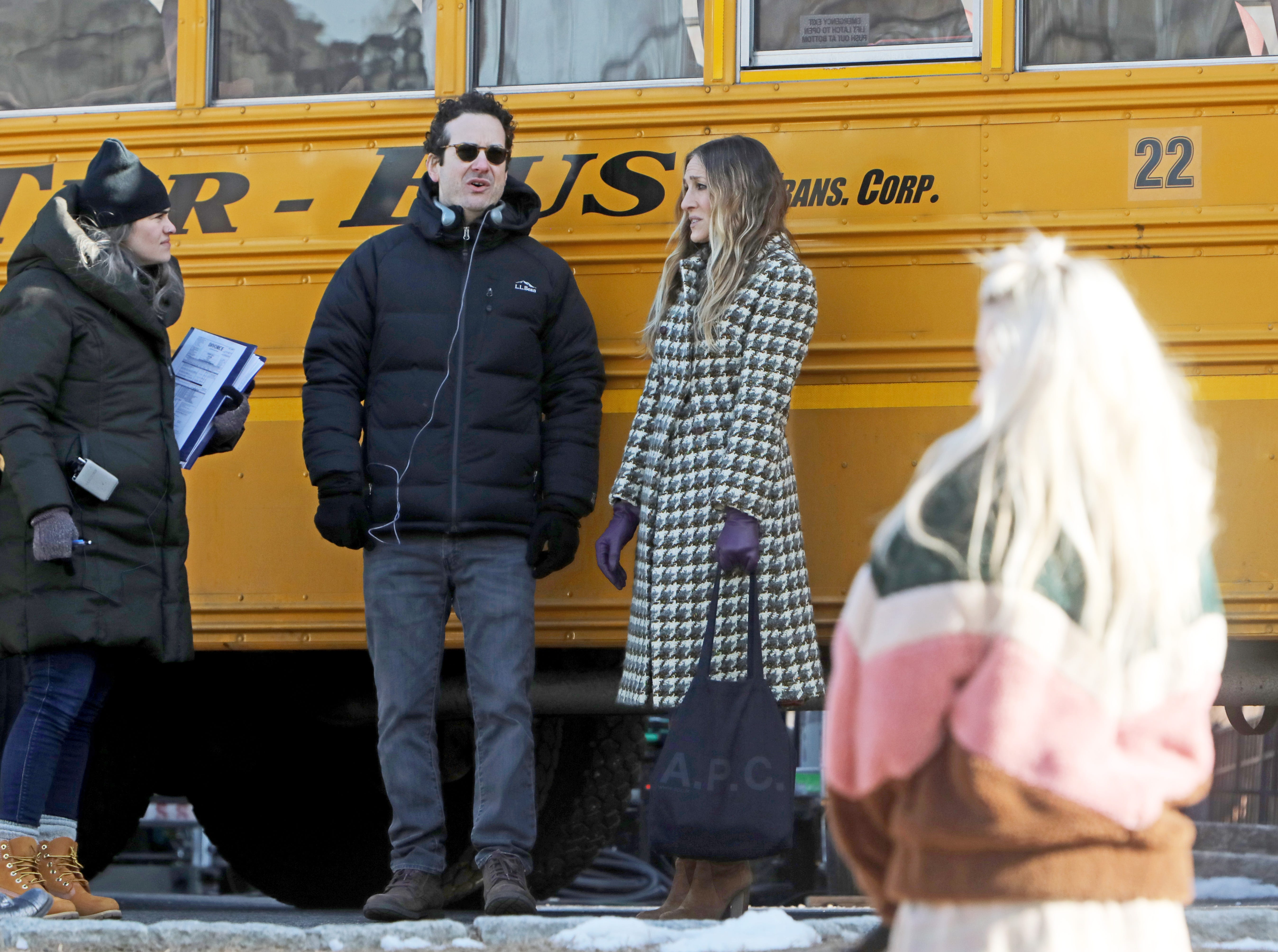 "Sarah Jessica Parker between filming scenes for ""Divorce,"" an HBO series, Feb. 19, 2019 near Hastings High School."