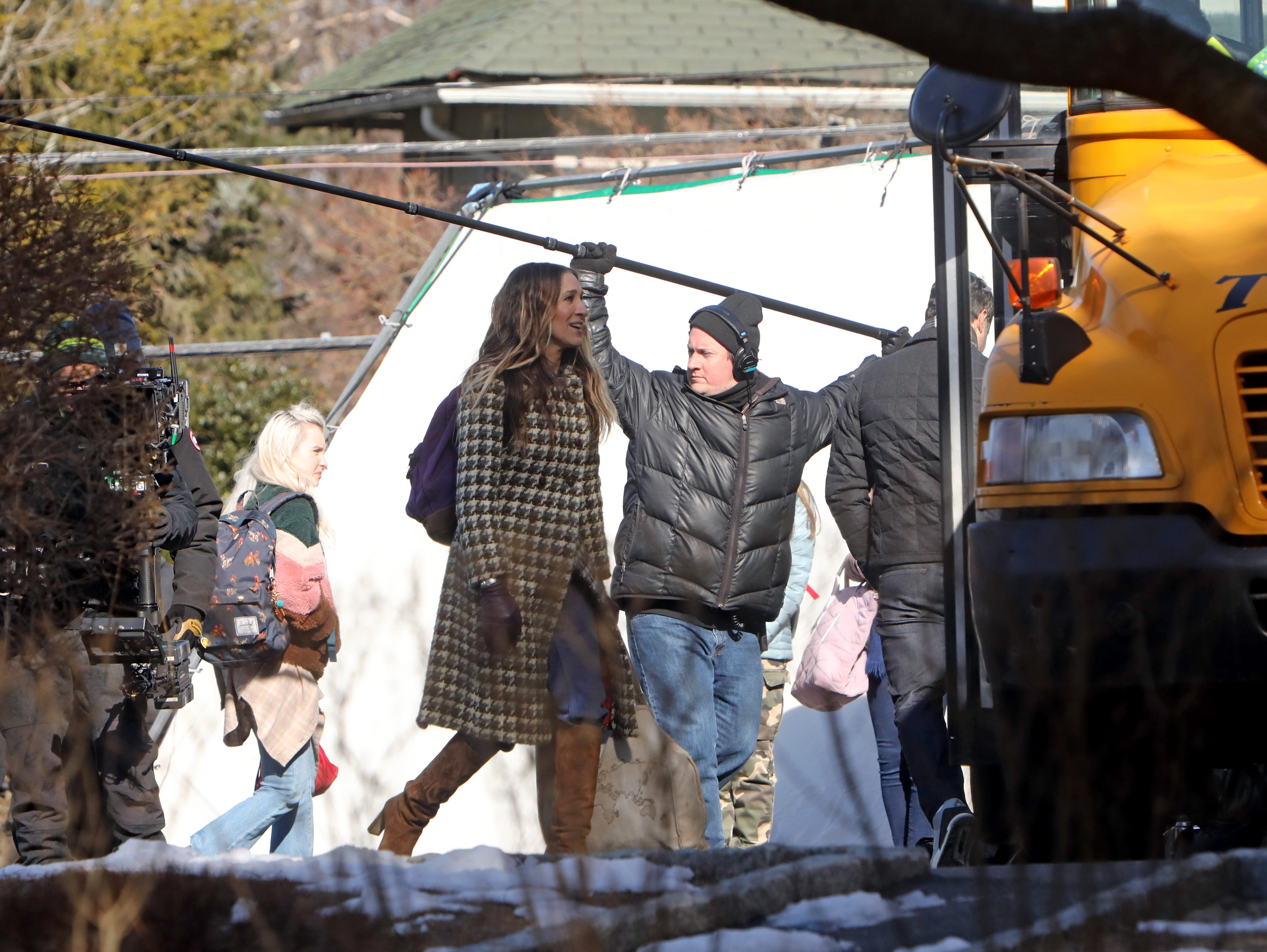 """Sarah Jessica Parker films a scene for """"Divorce,"""" an HBO series, Feb. 19, 2019 near Hastings High School."""