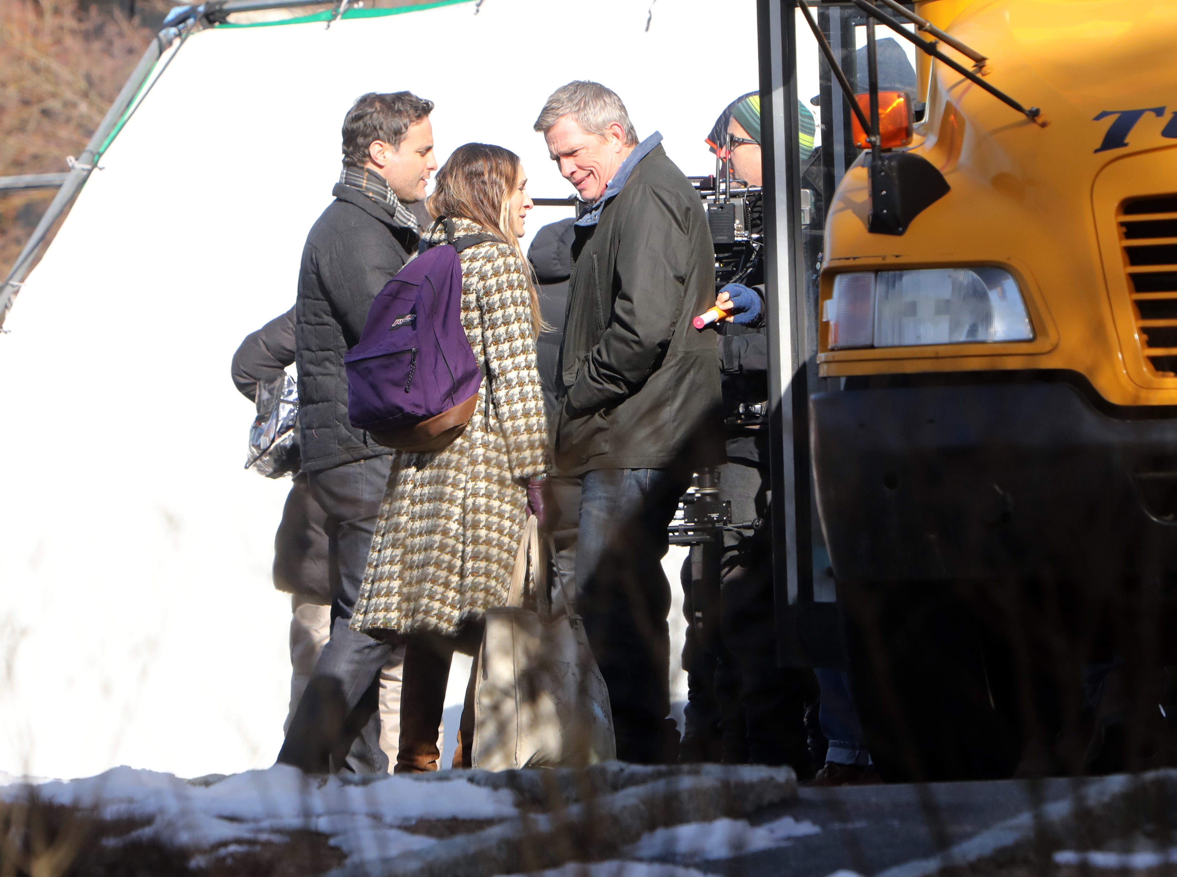 """Sarah Jessica Parker and Thomas Haden Church on set to film a scene for """"Divorce,"""" an HBO series, Feb. 19, 2019 near Hastings High School."""