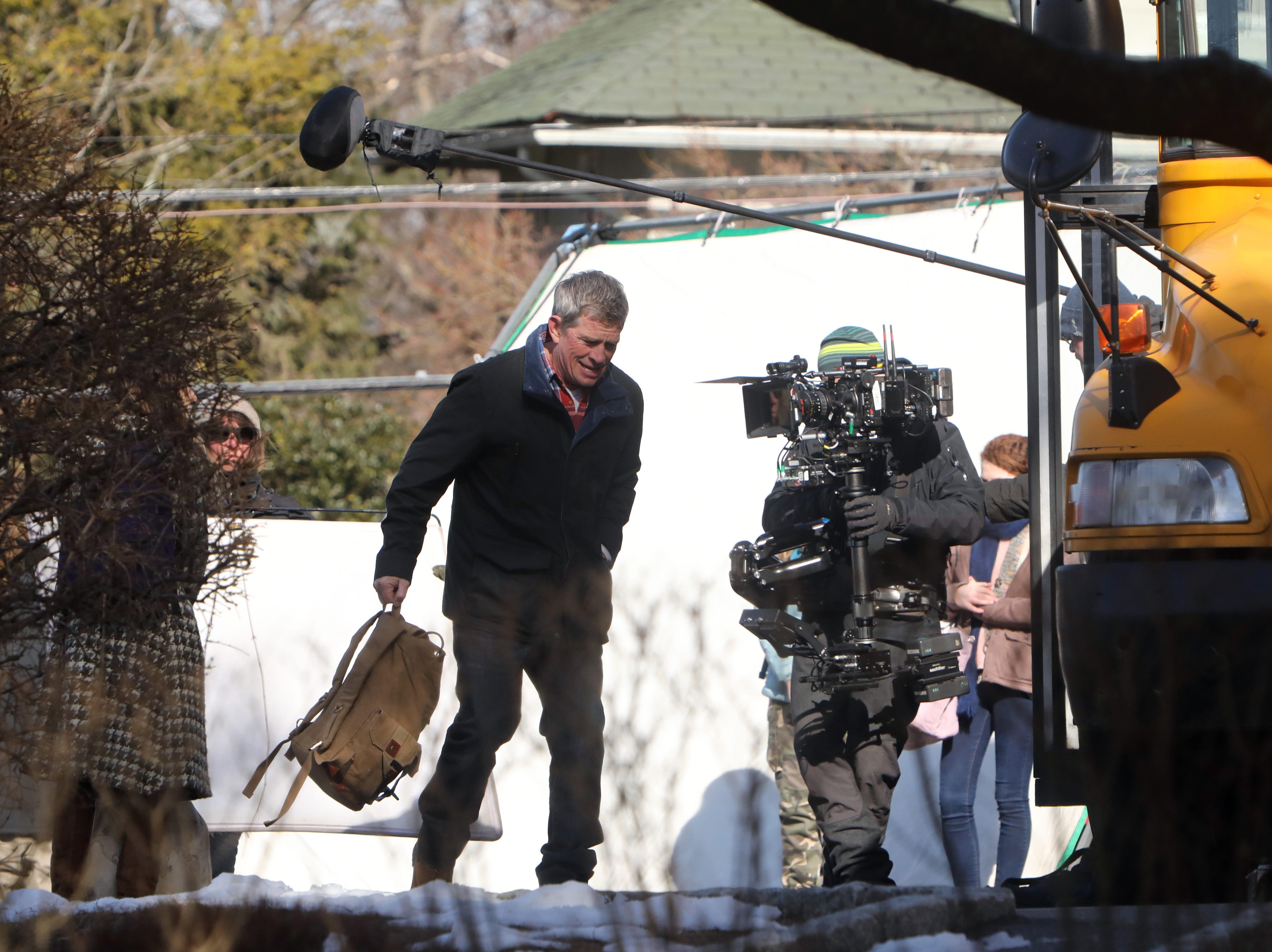 "Thomas Haden Church films a scene for ""Divorce,"" an HBO series, Feb. 19, 2019 near Hastings High School."