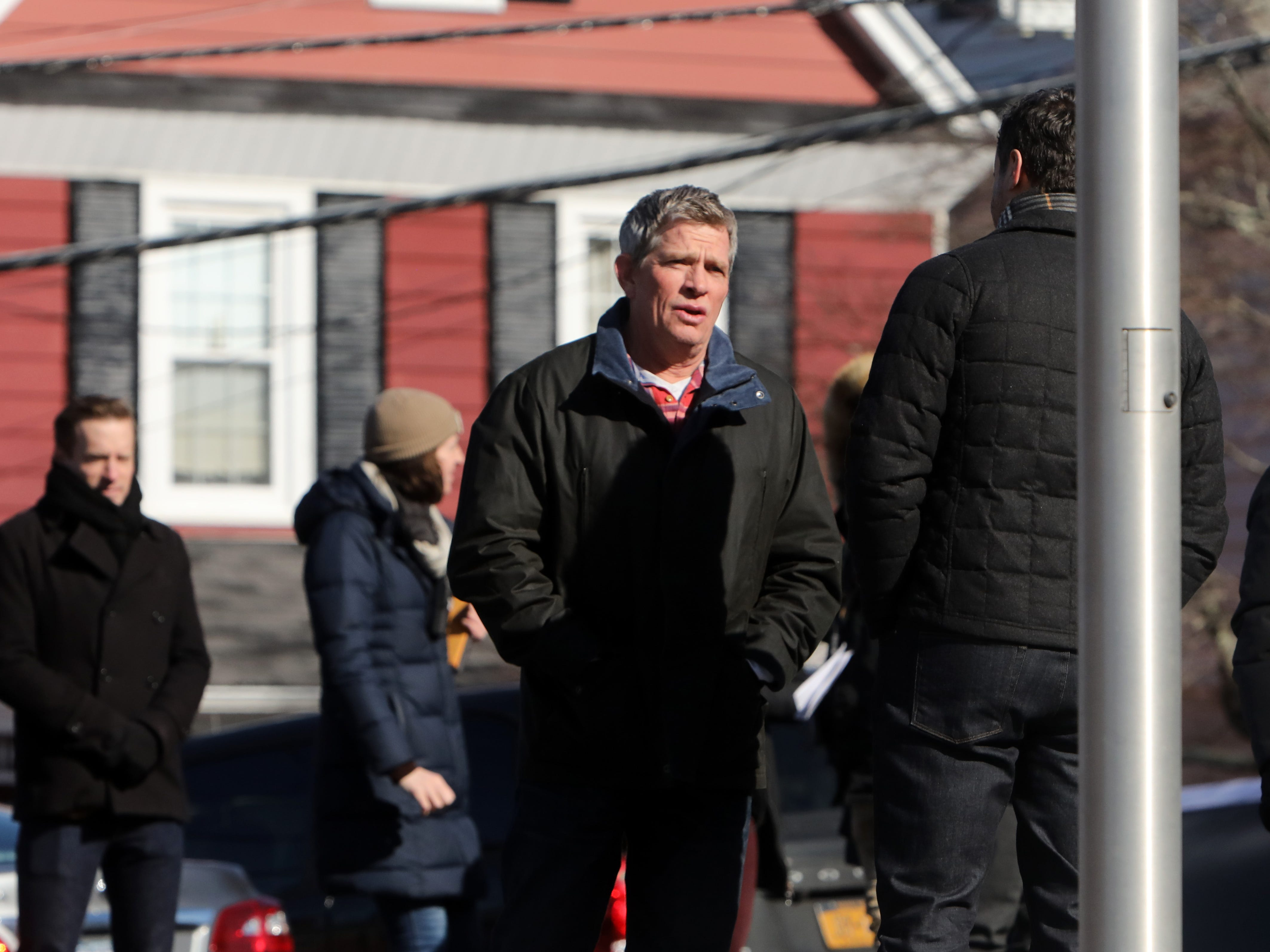 """Thomas Haden Church on set for """"Divorce,"""" an HBO series, Feb. 19, 2019 as the cast and crew shoot a scene near Hastings High School."""