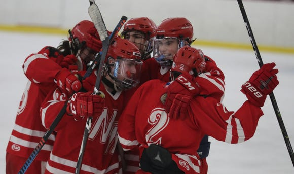 North Rockland celebrates an empty net goal during a hockey playoff game against Scarsdale at the Ice Hutch in Mount Vernon Feb. 18, 2019. North Rockland defeated Scarsdale 4-2.