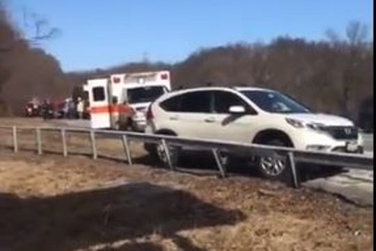 Aftermath of a crash that police said involved a wrong-way driver on the southbound Taconic State Parkway near Exit 8 in Millwood, Tuesday, Feb. 19, 2019.