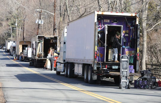 """Once again """"Hollywood on the Hudson"""" finds action in the lower Hudson Valley, as a movie production company films on private property along North Broadway in Upper Nyack, Feb. 19, 2019. Here, production trucks line a portion of the road, with the Clarkstown Police Department on the scene, to monitor the situation."""