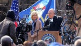 """Actors Sienna Miller and Russell Crowe, portraying FOX's Roger Ailes, film a television series called """"The Loudest Voice"""" at Stefanik Park in Yonkers."""
