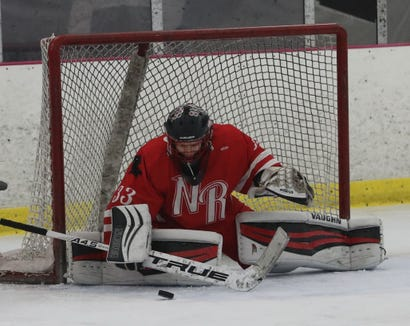 North Rockland goalie Angelo Zodda makes a save during a a hockey playoff game against Scarsdale at the Ice Hutch in Mount Vernon Feb. 18, 2019.  North Rockland defeated Scarsdale 4-2 in