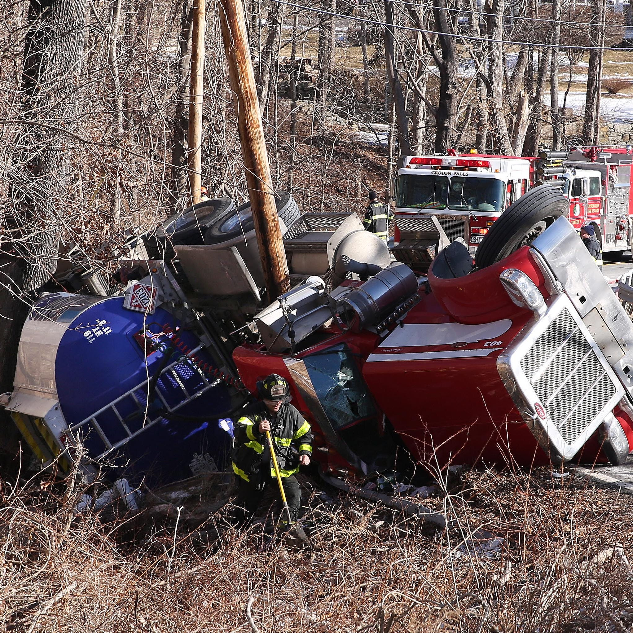 Tractor-trailer overturns on Route 116 in North Salem