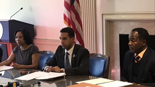 From left, Mount Vernon Comptroller  Deborah Reynolds, Mayor Richard Thomas and Council President Andre Wallace at a Board of Estimate & Contract meeting Feb. 19, 2019.
