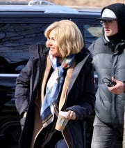 "Actress Sienna Miller on the set of a television series called ""The Loudest Voice"" being filmed at Stefanik Park in Yonkers, Feb. 19, 2019."