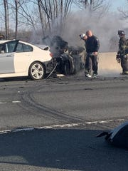 A four-car crash caused a fire on southbound Interstate 95 early Tuesday morning.