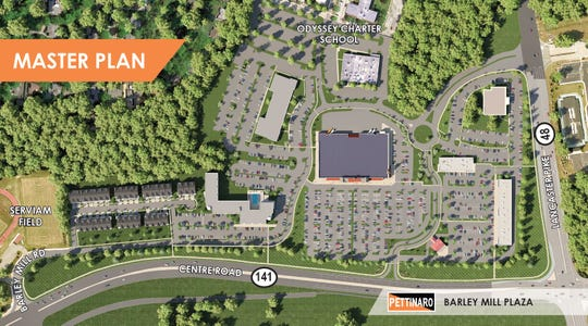 Pettinaro unveiled plans to redevelop Barley Mill Plaza in Greenville with retail shops, office space and residences Tuesday. This overhead view shows the property as the developer seeks to re-purpose it.